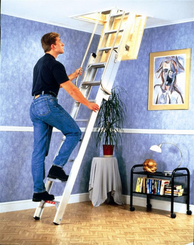 2 Section Youngman Deluxe Heavy Duty Aluminium Loft Ladder 306340