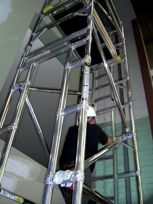 Boss Lift Shaft Scaffold Tower 850mm x 1.3m x 11.2m platform height 13.2m working height