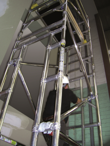 Boss Lift Shaft Scaffold Tower 850mm x 1.3m x 11.7m platform height 13.7m working height